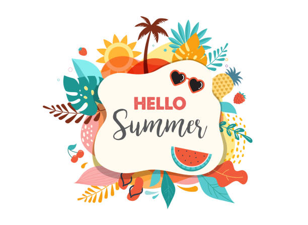 안녕하세요 여름 추상 배경, 여름 판매 배너, 포스터 디자인. 벡터 일러스트레이션 - summer stock illustrations