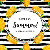 Hello summer advertising background, Summer flowers yellow dandelion. Trendy striped black pattern. All objects are editable, Vector hipster illustration