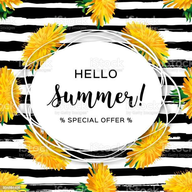 Hello summer advertising background summer flowers yellow dandelion vector id934884456?b=1&k=6&m=934884456&s=612x612&h=zktt gcztdmra8dxiqdqxcwqzdrn5dui iubnmx1pcq=