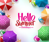 Hello Summer Background with 3D Realistic Colorful Beach Umbrella