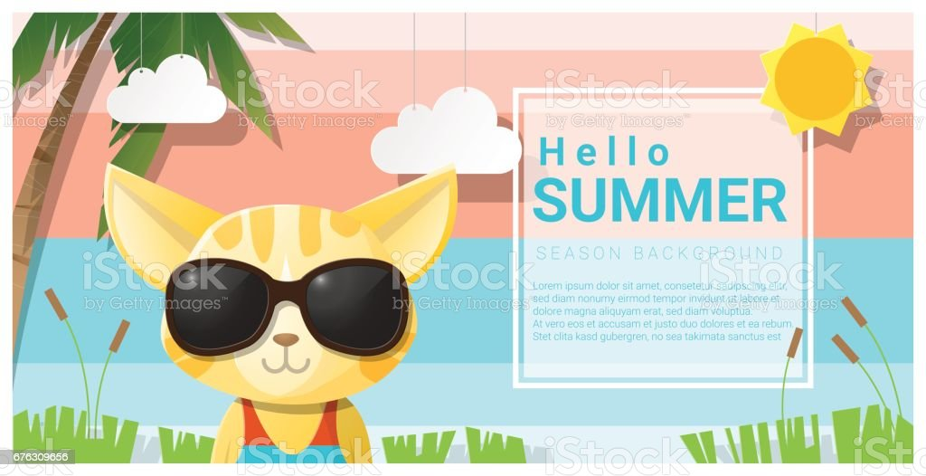 Hello Summer Background With Cat Wearing Sunglasses , Vector , Illustration  Royalty Free Hello Summer