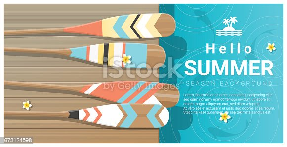 istock Hello summer background with collorful canoe paddles on wooden pier , vector , illustration 673124598