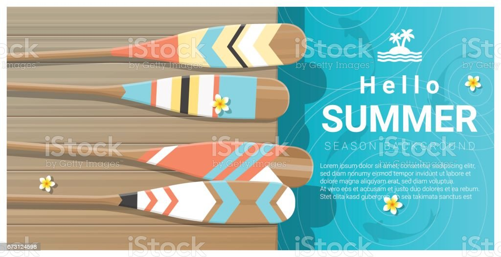 Hello summer background with collorful canoe paddles on wooden pier , vector , illustration vector art illustration