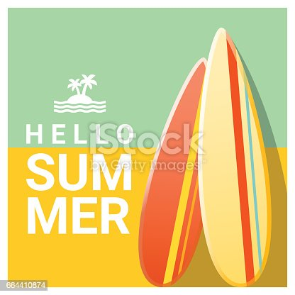 Hello summer background with colorful surfboards , vector , illustration