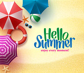 Hello Summer Background with Colorful Umbrella