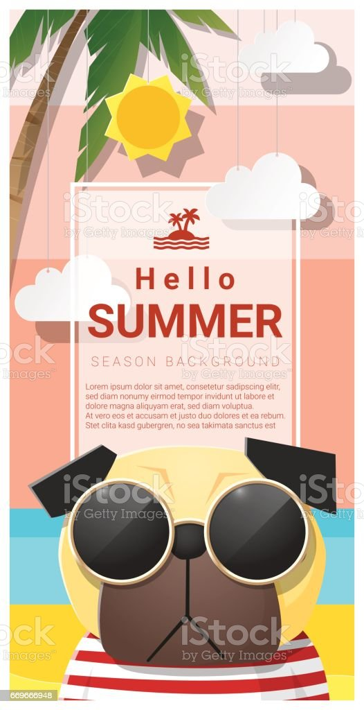 Hello Summer Background With Dog Wearing Sunglasses , Vector , Illustration  Royalty Free Hello Summer