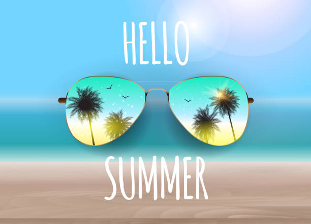 hello summer background with glass and palm. vector illustration - sunglasses stock illustrations, clip art, cartoons, & icons