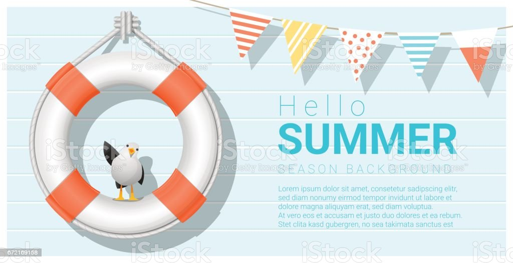 Hello summer background with lifebuoy , vector , illustration vector art illustration