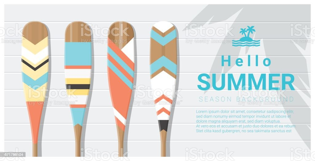 Hello summer background with painted canoe paddle , vector , illustration - Illustration vectorielle