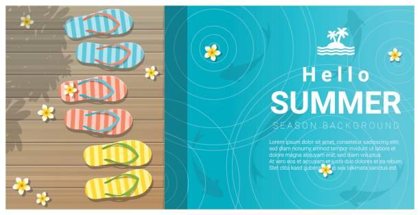 Hallo sommerlicher Hintergrund mit Sandalen auf Holzsteg, Vektor, Illustration – Vektorgrafik