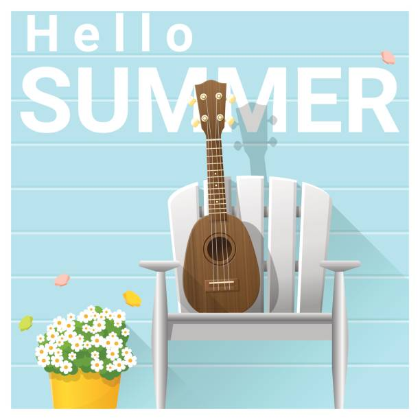 Hello summer background with ukulele on white chair , vector , illustration Hello summer background with ukulele on white chair , vector , illustration porch stock illustrations