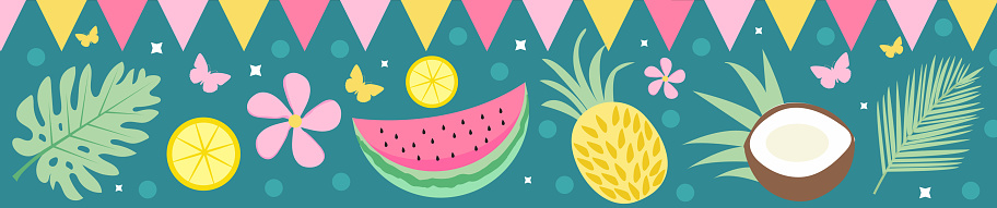 Hello summer banner background with tropical palm leaves and fruits. Summer Template for Your Design. Vector illustration
