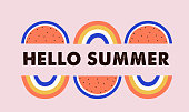 istock Hello summer, banner design with watermelon and rainbows. Vector illustration 1226318348