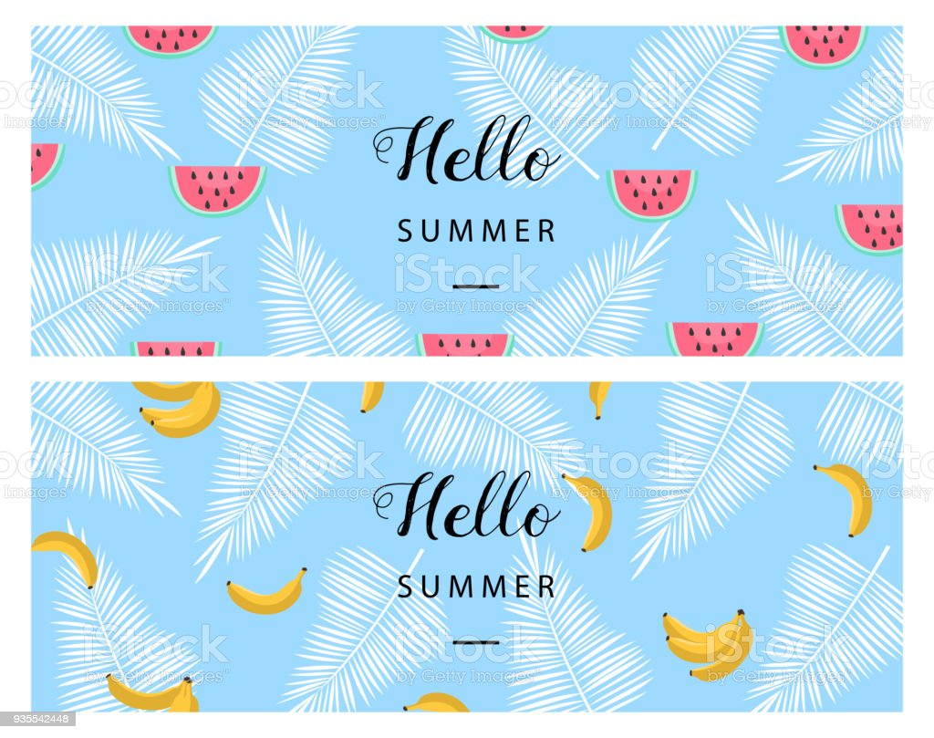 Hello Summer Banner Flat Style Summer Background Trendy Summer