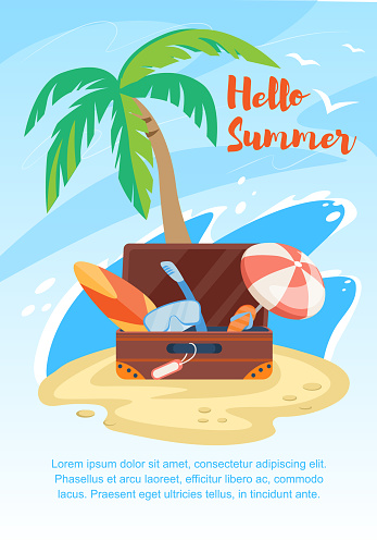 Hello Summer Banner, Suitcase on Seaside with Palm