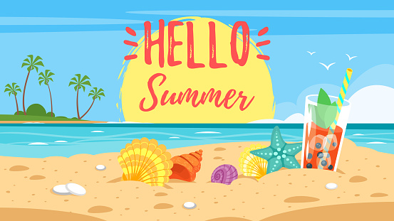 hello summer banner clipart