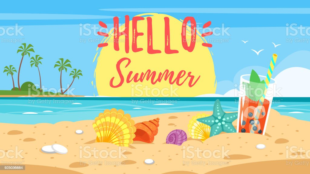 hello summer banner vector art illustration