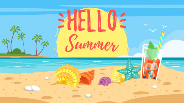 hello summer banner - beach stock illustrations