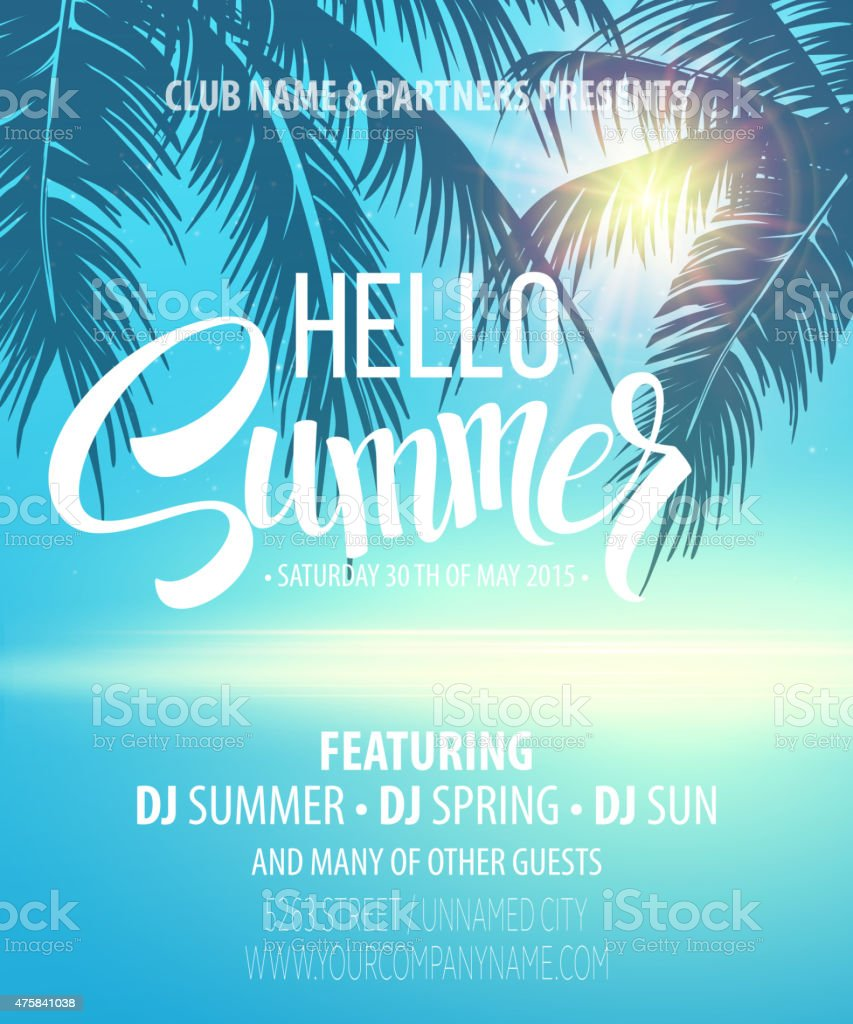 Hello Summer Beach Party Flyer. Vector Design vector art illustration