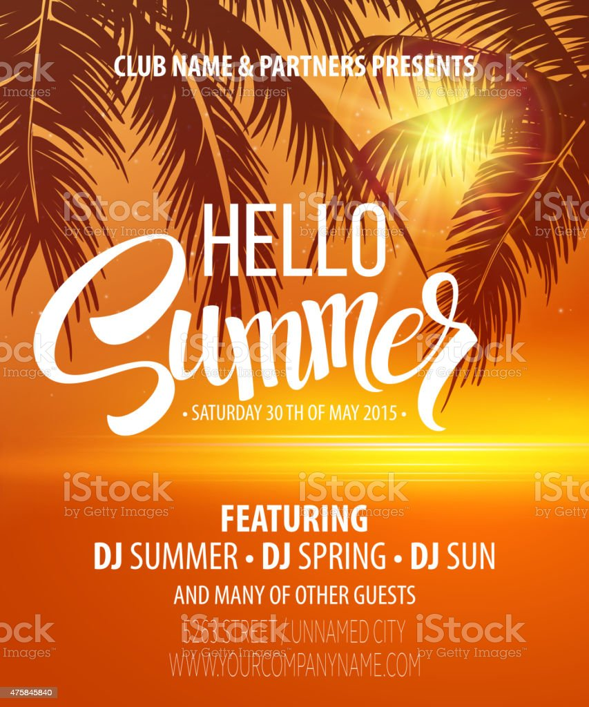 Hello Summer Beach Party Flyer. Vector Design vector art illustration