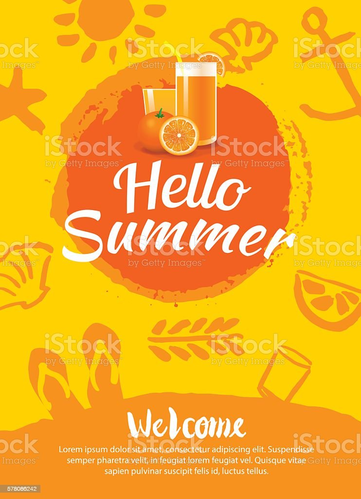 hello summer beach party poster background template のイラスト素材
