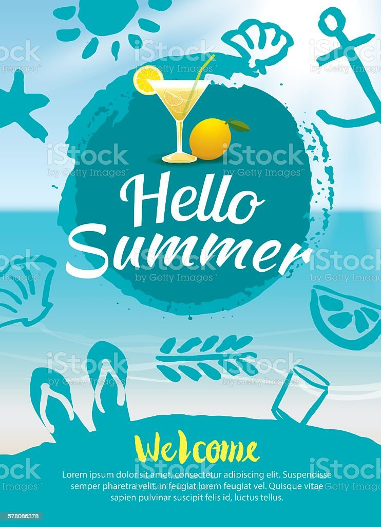 Hello Summer Beach Party Poster Background Template Royalty Free Stock Vector Art