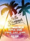 Hello Summer Beach Party. Tropic Summer fun vacation and travel.