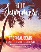 Hello Summer Beach Party. Tropic  vacation and travel. Tropical poster