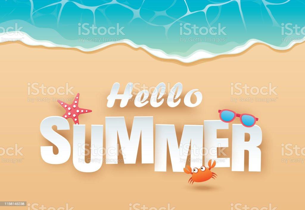 Ilustración De Hola Verano Playa Superior Vista Viaje Y