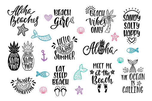 Hello summer, beach vibes, aloha. Set of inspirational quotes. Modern calligraphy phrases