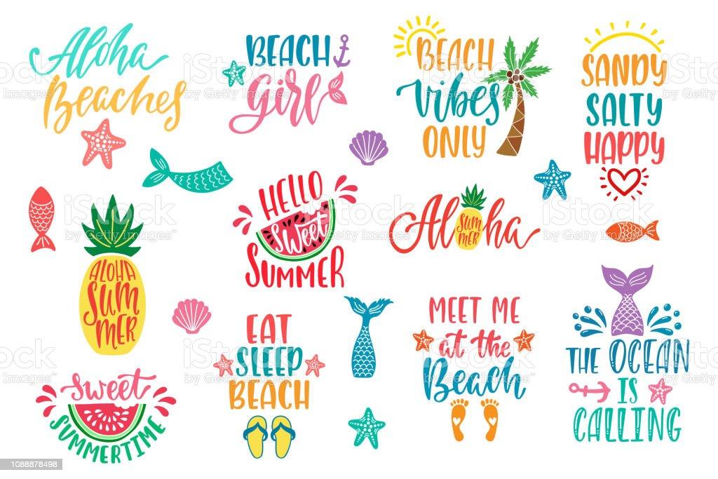 Hello Summer Beach Vibes Aloha Set Of Inspirational Quotes ...