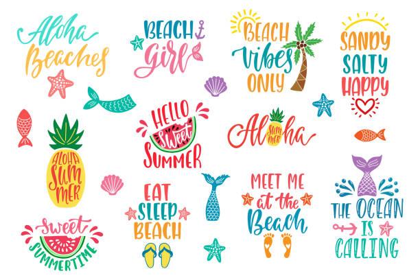 Hello Summer Beach Vibes Aloha Set Of Inspirational Quotes Modern
