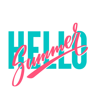 Hello summer bright hand writing, lettering, calligraphy, typography. Print for T-shirt. Graphic design vector element in two color isolated on white