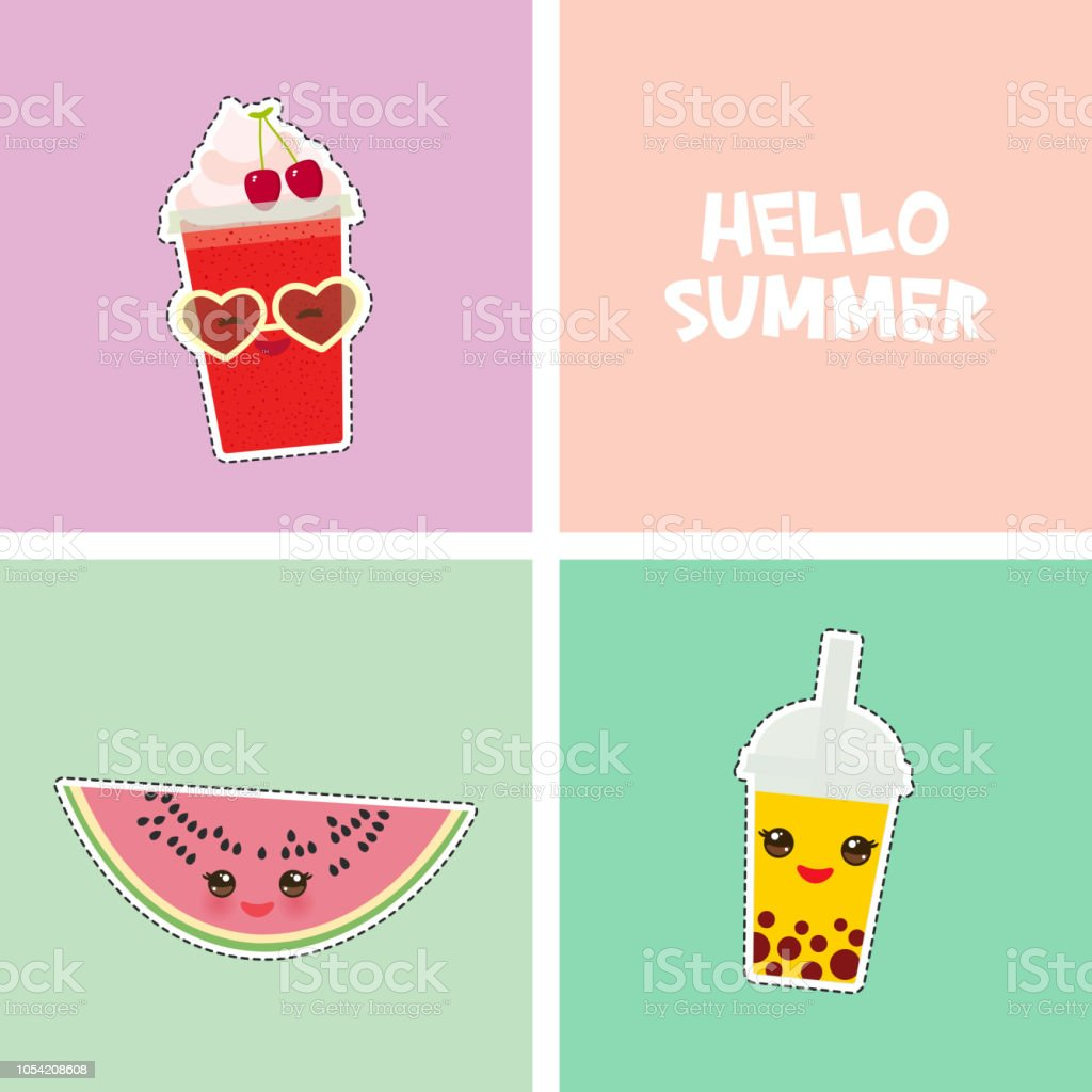 Hello Summer bright tropical card banner design, fashion patches badges stickers. watermelon, bubble tea, cherry smoothie cup, sunglasses. Kawaii cute face. Applicable for Banners, Flyers. Vector vector art illustration
