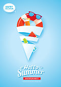 Hello summer card banner with ice cream cone shape paper art on blue background. Use for poster, flyer, advertising, brochure, invitation, flyer.