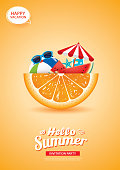 Hello summer card banner with orange background. Use for poster, flyer, advertising, brochure, invitation, flyer.