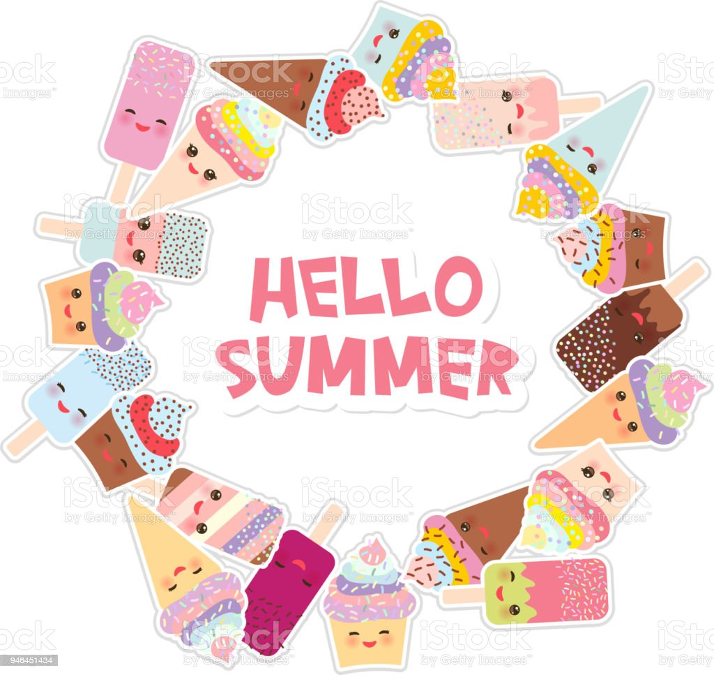 High Quality Hello Summer Card Design For Your Text. Round Frame, Wreath. Cupcakes, Ice
