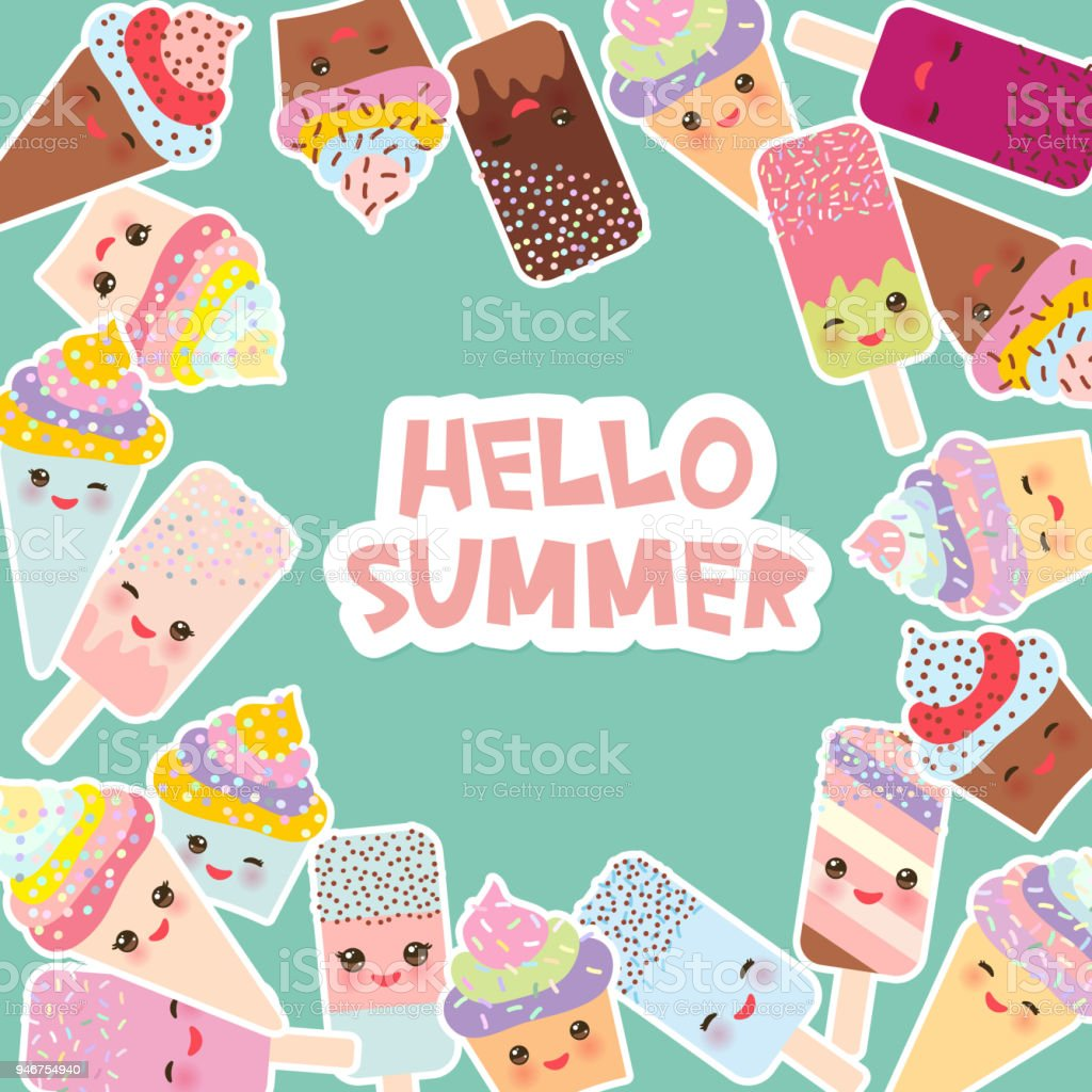 Hello Summer Card Design For Your Text. Round Frame, Wreath. Cupcakes, Ice