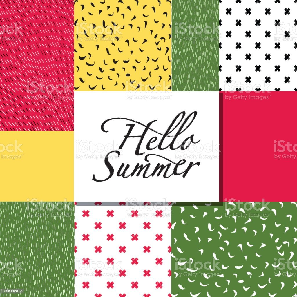 Hello Summer Card On The Abstract Background. Royalty Free Hello Summer Card  On The