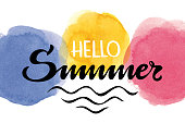 Vectorized hello summer lettering with multicolored watercolor round spots in the background.