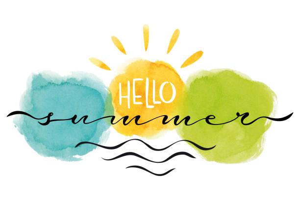 Hello summer card vector art illustration