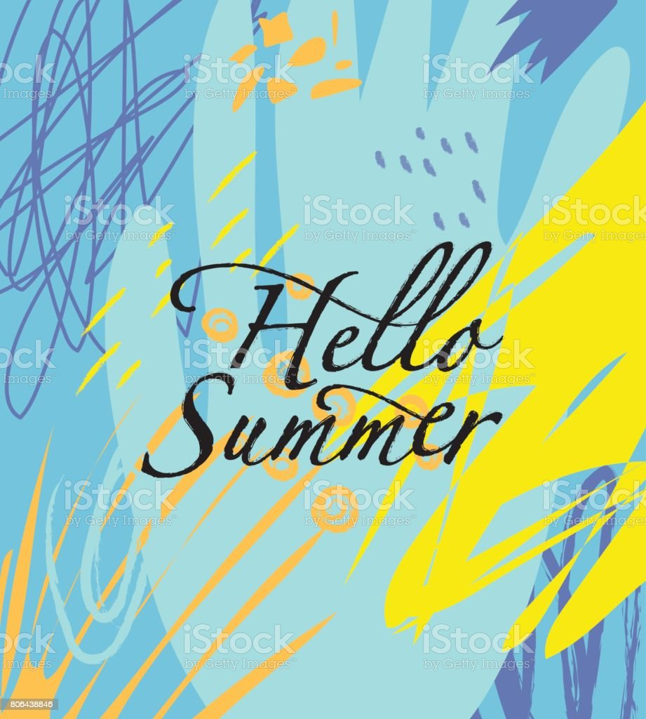 Hello Summer Card With A Lettering On The Abstract Background. Royalty Free  Stock Vector