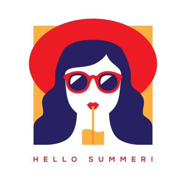 サングラスと帽子で女の子と夏カードこんにちは。 - ポートレート点のイラスト素材/クリップアート素材/マンガ素材/アイコン素材