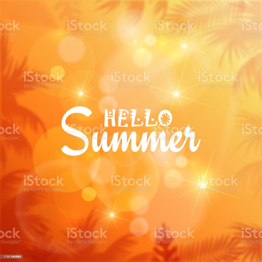 Hello Summer card with palm leaves and sun rays. Vector.