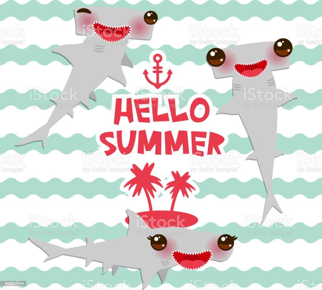 Olá tubarão-Winghead verão Cartoon martelo de liso cinza Kawaii com bochechas rosa e piscando os olhos a sorrir. ondas do mar oceano fundo de azul. modelo de banner, design de cartão. Vector - ilustração de arte em vetor