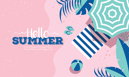 Hello Summer celebration banner or poster design with top view of beach elements on pink background.