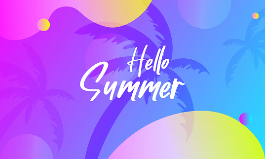 Hello Summer celebration banner or poster design with top view of beach