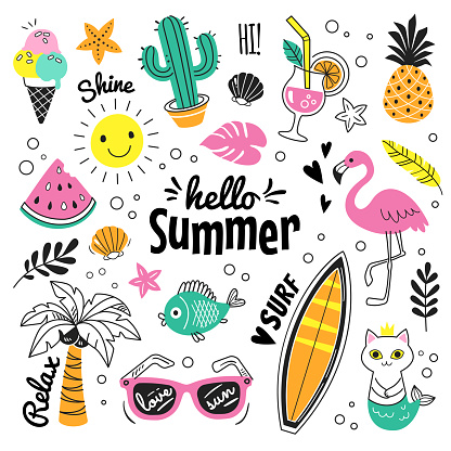 你好夏天收藏向量圖形及更多一組物體圖片