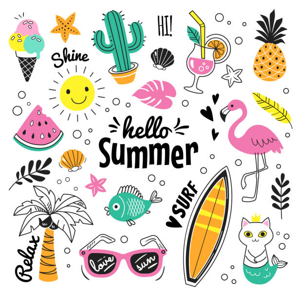 Hello Summer collection. Vector illustration of colorful funny doodle summer symbols, such as flamingo, ice cream, palm tree, sunglasses, cactus, surfboard, pineapple and watermelon. summer stock illustrations