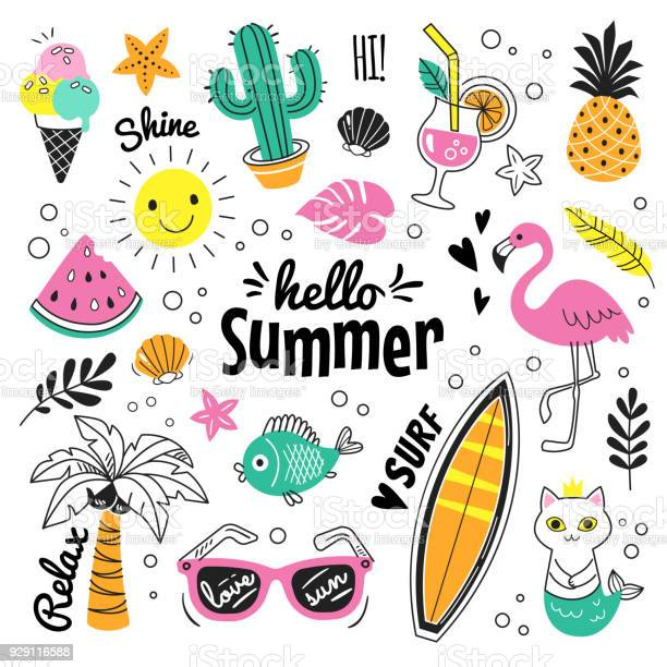 Vector illustration of colorful funny doodle summer symbols, such as flamingo, ice cream, palm tree, sunglasses, cactus, surfboard, pineapple and watermelon.